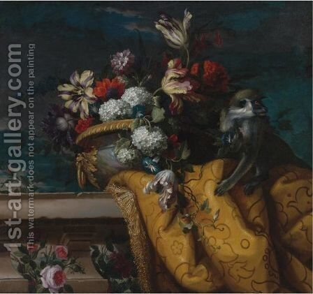 Still Life Of Tulips, Hydrangea And Other Flowers In A Gilt Urn And A Monkey by Jean-Baptiste Monnoyer - Reproduction Oil Painting