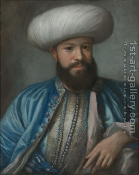 Portrait Of A Man In Turkish Costume by (after) Etienne Liotard - Reproduction Oil Painting