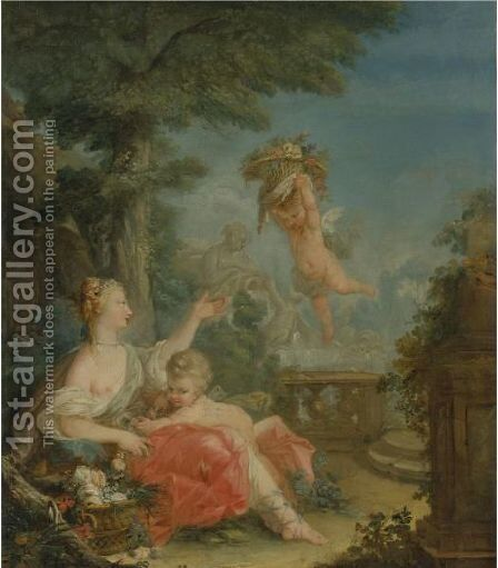 A Shepherdess In A Landscape With A Putto Holding A Basket Of Flowers by (after) Jean-Baptiste Huet I - Reproduction Oil Painting