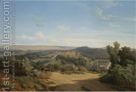 View Of The Park And The Chateau D'Eu by Theophile Blanchard - Reproduction Oil Painting