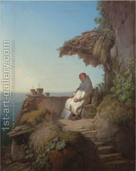 The Sleeping Hermit by Carl Spitzweg - Reproduction Oil Painting