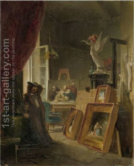 The History Painter by Carl Spitzweg - Reproduction Oil Painting