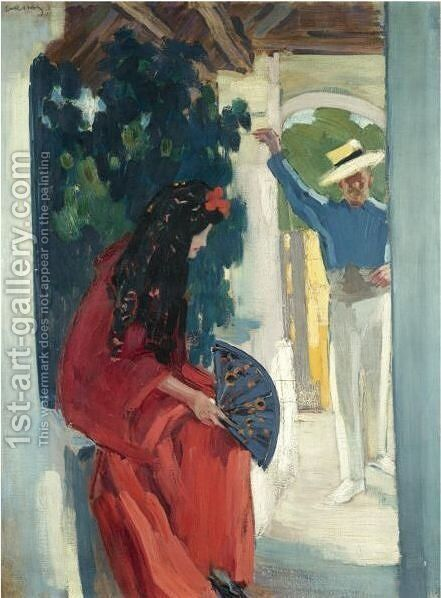 Mid-Day Rest (Couple From Seville) by Janos Vaszary - Reproduction Oil Painting