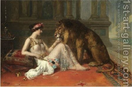 Her Favourite Pet by Adolphe Weisz - Reproduction Oil Painting