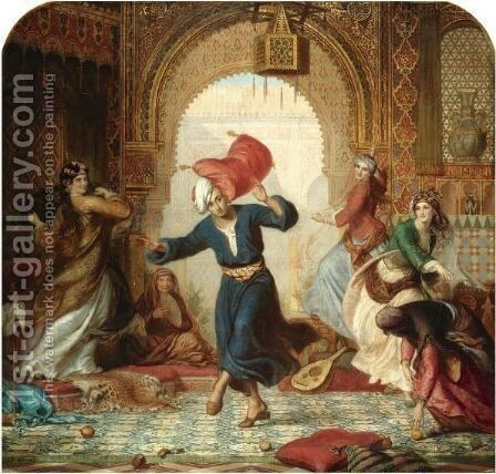 The Pillow Fight by Alfred Patten - Reproduction Oil Painting
