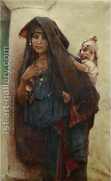 Bedouine A Tunis by Auguste Emile Pinchart - Reproduction Oil Painting