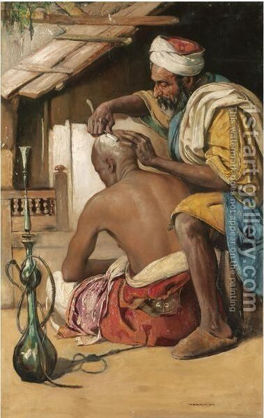The Barber by Gyula Tornai - Reproduction Oil Painting
