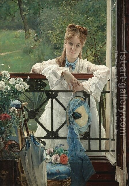 The Blue Ribbon by Alfred Stevens - Reproduction Oil Painting