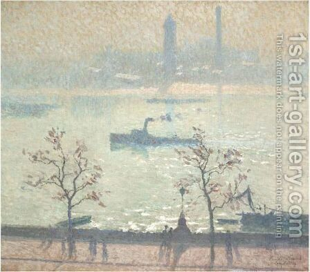 View Of The Thames From The Embankment by Emile Claus - Reproduction Oil Painting