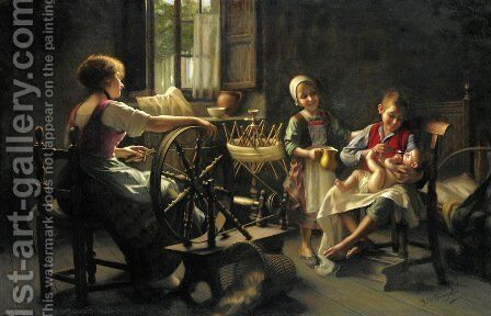 Family In An Interior by Giovanni Battista Torriglia - Reproduction Oil Painting