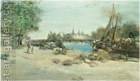 Le Port Saint-Nicolas Avec Notre-Dame A L'Arriere-Plan by Jean-Francois Raffaelli - Reproduction Oil Painting