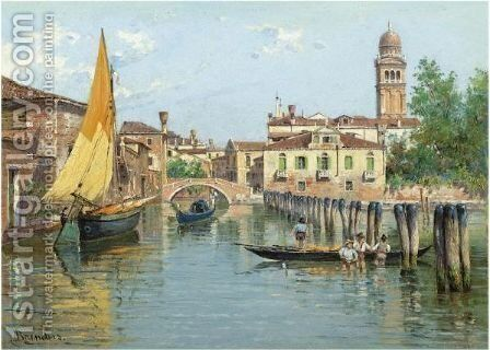 Gondolas On A Canal In Venice by Antonietta Brandeis - Reproduction Oil Painting
