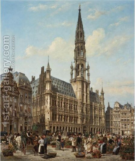 The Flower Market In The Grande Place, Brussels by Cornelis Christiaan Dommelshuizen - Reproduction Oil Painting