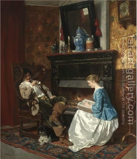 Junge Dame Am Kamin Sitzend (The Fireside Story) by Carl Ludwig Friedrich Becker - Reproduction Oil Painting