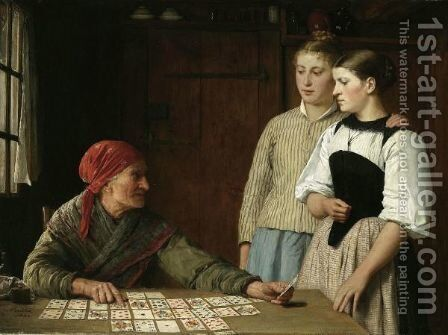 Fortune Teller, 1880 by Albert Anker - Reproduction Oil Painting