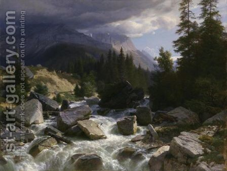 On The Way To Rosenlaui (Bernese Oberland), 1890 by Johann Gottfried Steffan - Reproduction Oil Painting