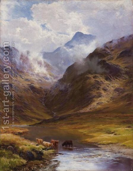 Mountain Landscape With Cows, 1888 by James Henry Crossland - Reproduction Oil Painting