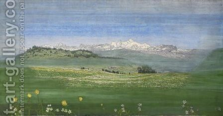 View Of Mont-Blanc by Alexandre Perrier - Reproduction Oil Painting