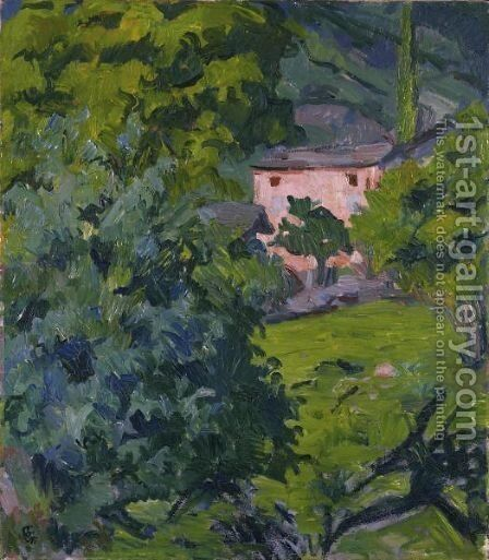 Red House In The Green Landscape, 1921 by Giovanni Giacometti - Reproduction Oil Painting
