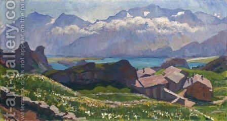 View Over Capolago Towards Lake Sils, 1927 by Giovanni Giacometti - Reproduction Oil Painting