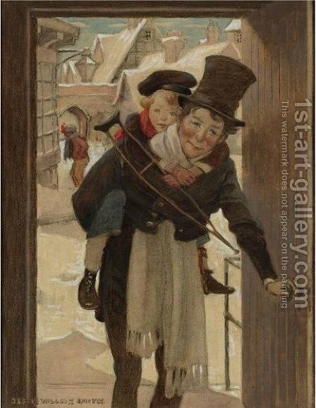Study For Tiny Tim And Bob Cratchit On Christmas Day by Jessie Willcox Smith - Reproduction Oil Painting