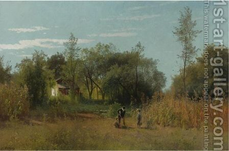 Hoeing by Herman Herzog - Reproduction Oil Painting