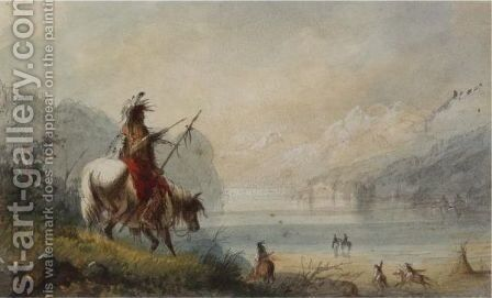 Oregon Indians Water Horses by Alfred Jacob Miller - Reproduction Oil Painting