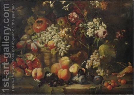 Natura Morta Di Frutta E Fiori Con Melograni E More by Abraham Brueghel - Reproduction Oil Painting