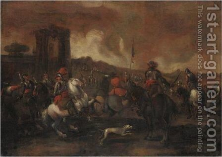 Scena Di Battaglia by (after) Ilario Spolverini - Reproduction Oil Painting