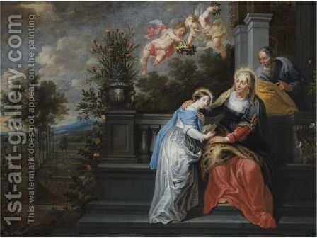 Saint Anne Teaching The Virgin Mary To Read, In A Garden Setting, With Two Angels Descending, Bearing A Floral Crown by (after) Willem Van, The Elder Herp - Reproduction Oil Painting