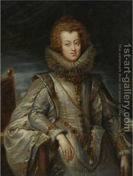 A Portrait Of Maria Anna Of Austria, Infanta Of Spain, Later Queen Of Hungary (1604-1646) by (after) Sir Peter Paul Rubens - Reproduction Oil Painting