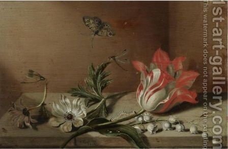 A Still Life With A Tulip, Anemones, Lily-Of-The-Valley, A Caterpillar, A Butterfly And Other Insects On A Wooden Ledge by Jacob Marrel - Reproduction Oil Painting