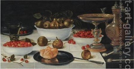 A Still Life With Strawberries, Pears And Cherries In Porcelain Bowls, Together With A Bun On A Silver Plate by (after) Gillis Gillisz. De Bergh - Reproduction Oil Painting