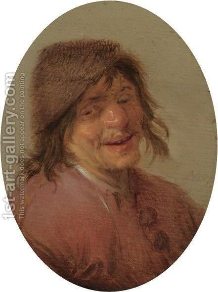 A Laughing Peasant by Adriaen Jansz. Van Ostade - Reproduction Oil Painting