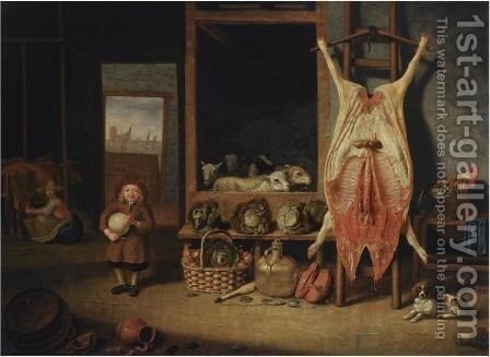 A Barn Interior With A Slaughtered Pig, A Young Boy Playing With A Pig's Bladder, Sheep by Hubert van Ravesteyn - Reproduction Oil Painting