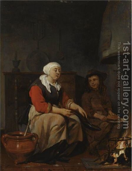 The Pancake Baker by (after) Gabriel Metsu - Reproduction Oil Painting