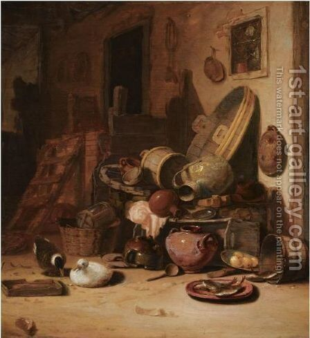 A Still Life Of Earthenware Pots, Barrels, Baskets, Jugs, An Earthenware Plate With Fish, Together With Ducks, In A Barn by Hendricksz. Bogaert - Reproduction Oil Painting