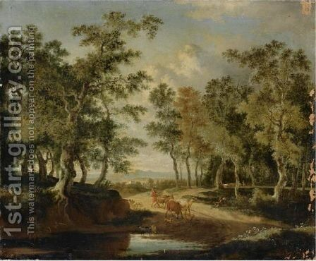 A Wooded Landscape With A Shepherd And His Herd On A Path, Near A Puddle by Jan Hackaert - Reproduction Oil Painting