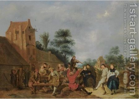 A Merry Company Outside An Inn by Jan Miense Molenaer - Reproduction Oil Painting