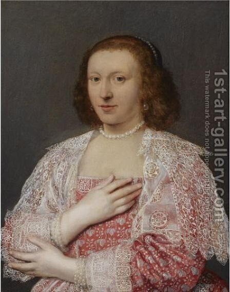 A Portrait Of A Lady, Half Length, Wearing A Red Dress With Elaborate White Lace Cuffs And Collar, And Pearl Jewellery by English School - Reproduction Oil Painting