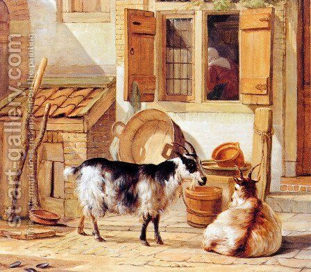 A Courtyard With Two Goats by Abraham van, I Strij - Reproduction Oil Painting
