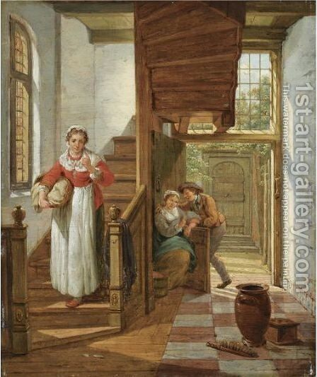 An Interior Scene With A Maid Eavesdropping On The Stairs On An Amorous Couple, A View Of A Courtyard Beyond by Abraham van, I Strij - Reproduction Oil Painting