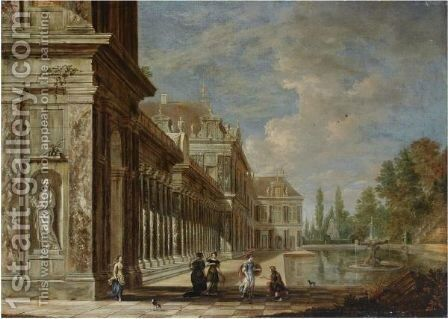 A Palace Capriccio Beside A Fountain With A Soldier And Elegant Figures In The Foreground by Jacobus Saeys - Reproduction Oil Painting