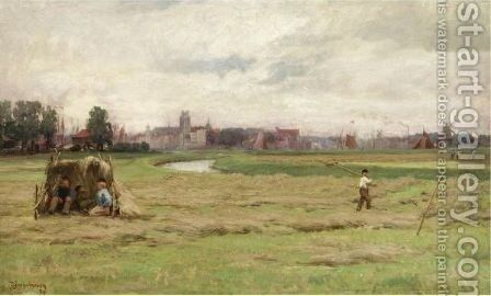 Hay Scene At Dordrecht by David Farquharson - Reproduction Oil Painting