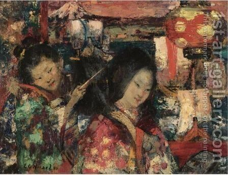 In Japan by Edward Atkinson Hornel - Reproduction Oil Painting