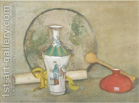 Still Life With An Oriental Vase by Bessie Macnicol - Reproduction Oil Painting