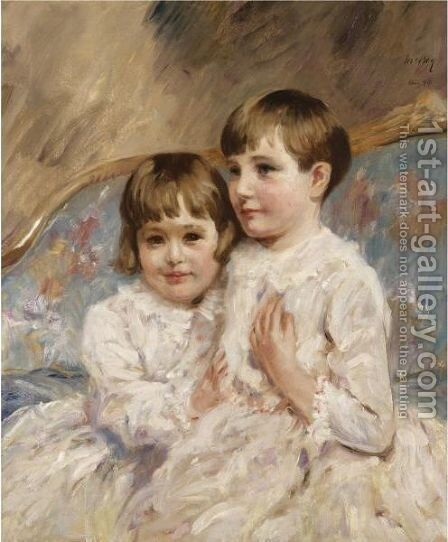 Portrait Of Two Young Girls by James Mcbey - Reproduction Oil Painting