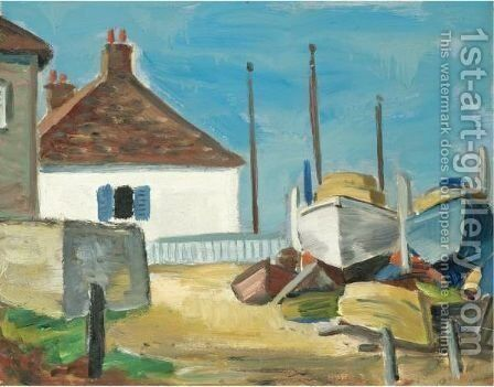Cottage By The Harbour by Anne Estelle Rice - Reproduction Oil Painting