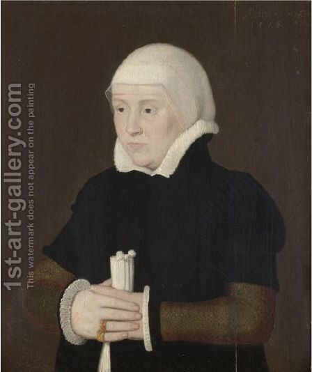 Portrait Of A Lady, Half Length, Wearing A Black Coat With A White Collar And Cuffs by (after) Ambrosius Holbein - Reproduction Oil Painting
