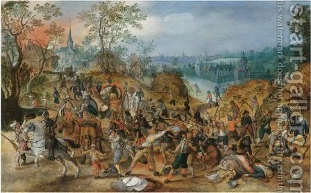 A Landscape With Travellers Ambushed Outside A Small Town by (after) Sebastian Vrancx - Reproduction Oil Painting